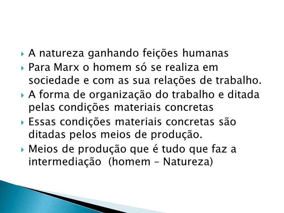 A natureza ganhando feições humanas Para Marx o homem só se realiza em sociedade e com as sua relações de trabalho. A forma de organização do trabalho