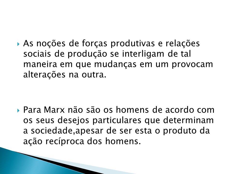 As noções de forças produtivas e relações sociais de produção se interligam de tal maneira em que mudanças em um provocam alterações na outra. Para Ma