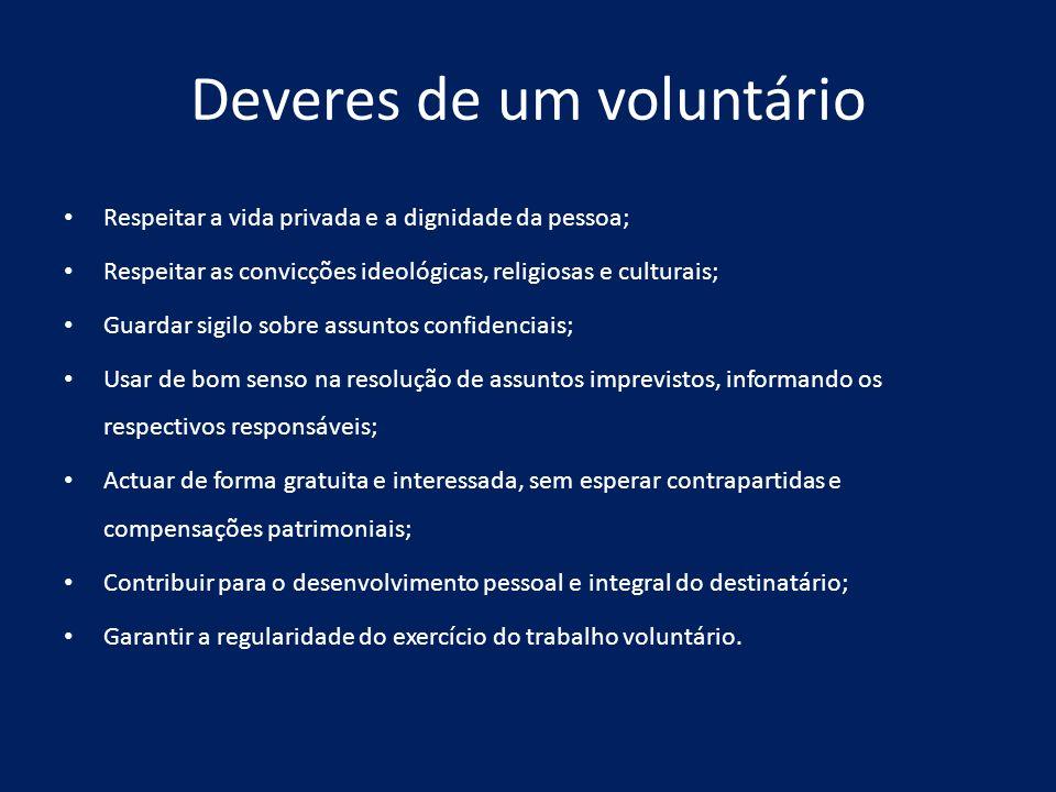 Deveres de um voluntário Respeitar a vida privada e a dignidade da pessoa; Respeitar as convicções ideológicas, religiosas e culturais; Guardar sigilo