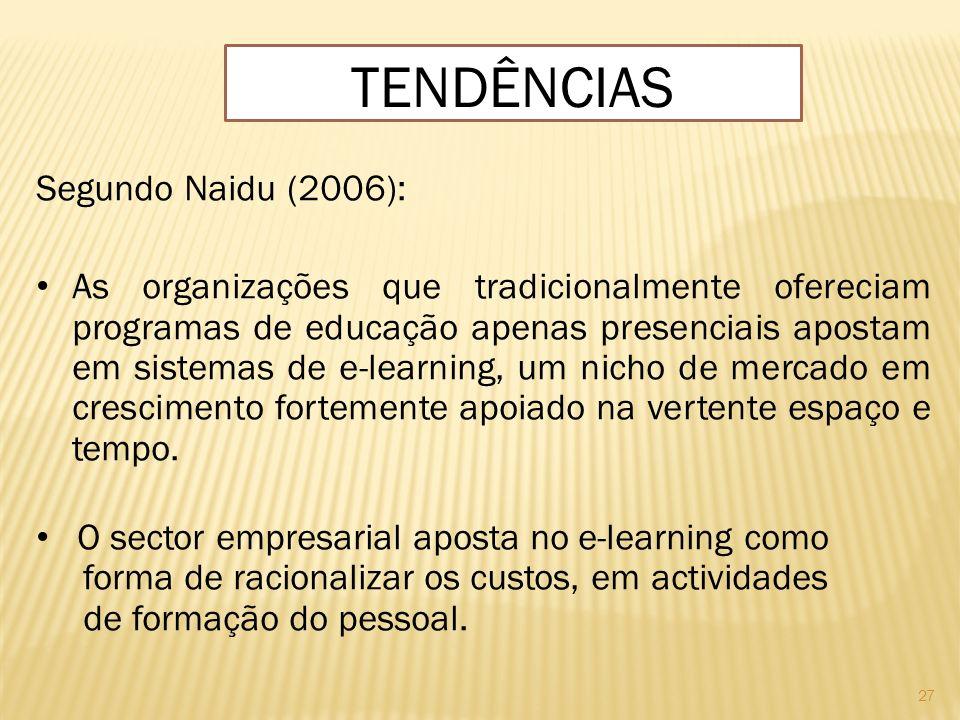27 Segundo Naidu (2006): As organizações que tradicionalmente ofereciam programas de educação apenas presenciais apostam em sistemas de e-learning, um
