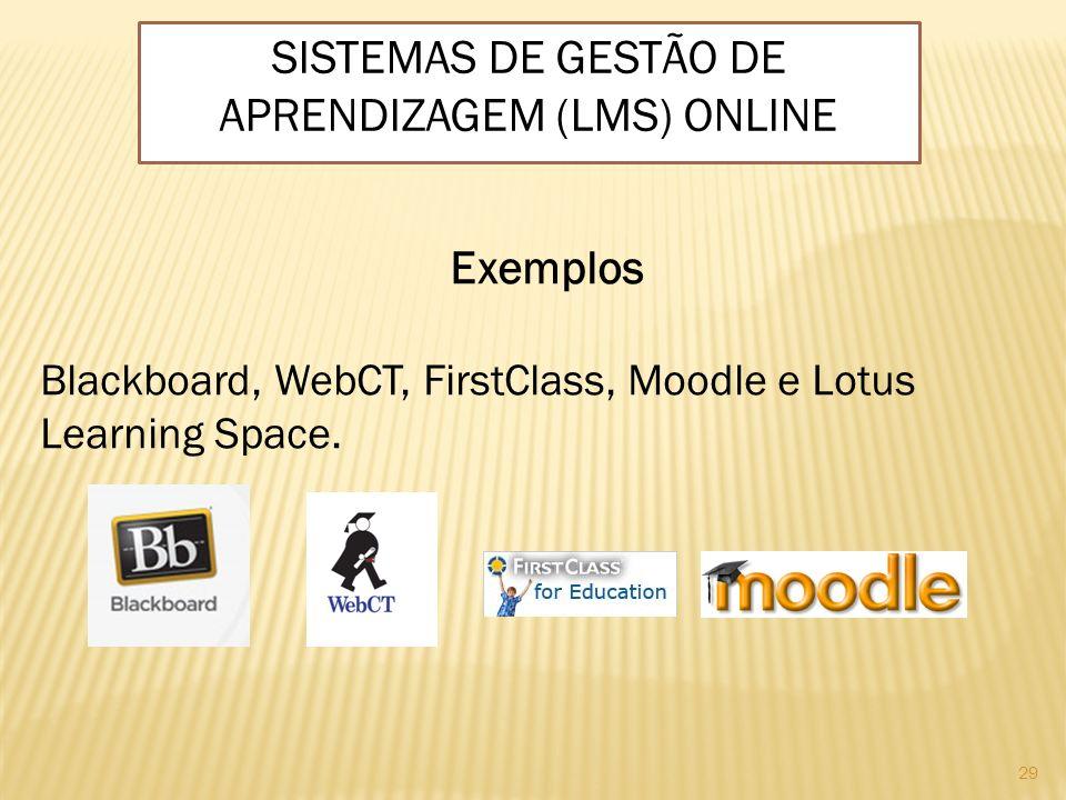 29 Exemplos Blackboard, WebCT, FirstClass, Moodle e Lotus Learning Space. SISTEMAS DE GESTÃO DE APRENDIZAGEM (LMS) ONLINE
