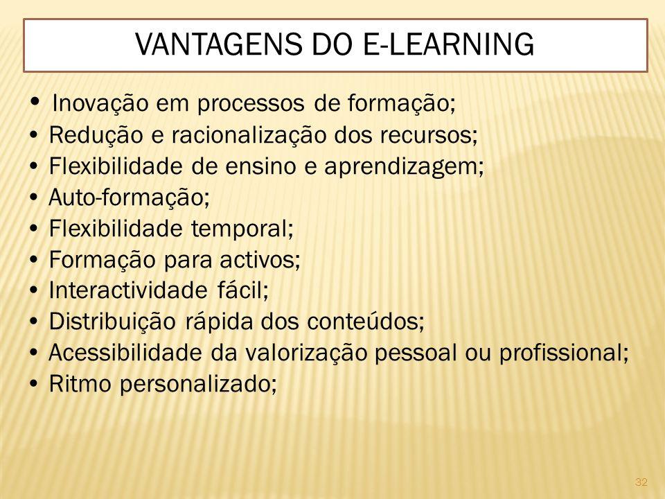 32 VANTAGENS DO E-LEARNING Inovação em processos de formação; Redução e racionalização dos recursos; Flexibilidade de ensino e aprendizagem; Auto-form