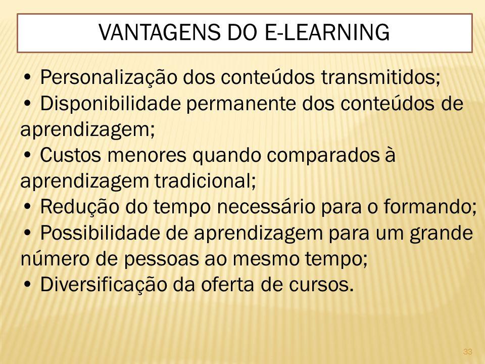33 VANTAGENS DO E-LEARNING Personalização dos conteúdos transmitidos; Disponibilidade permanente dos conteúdos de aprendizagem; Custos menores quando