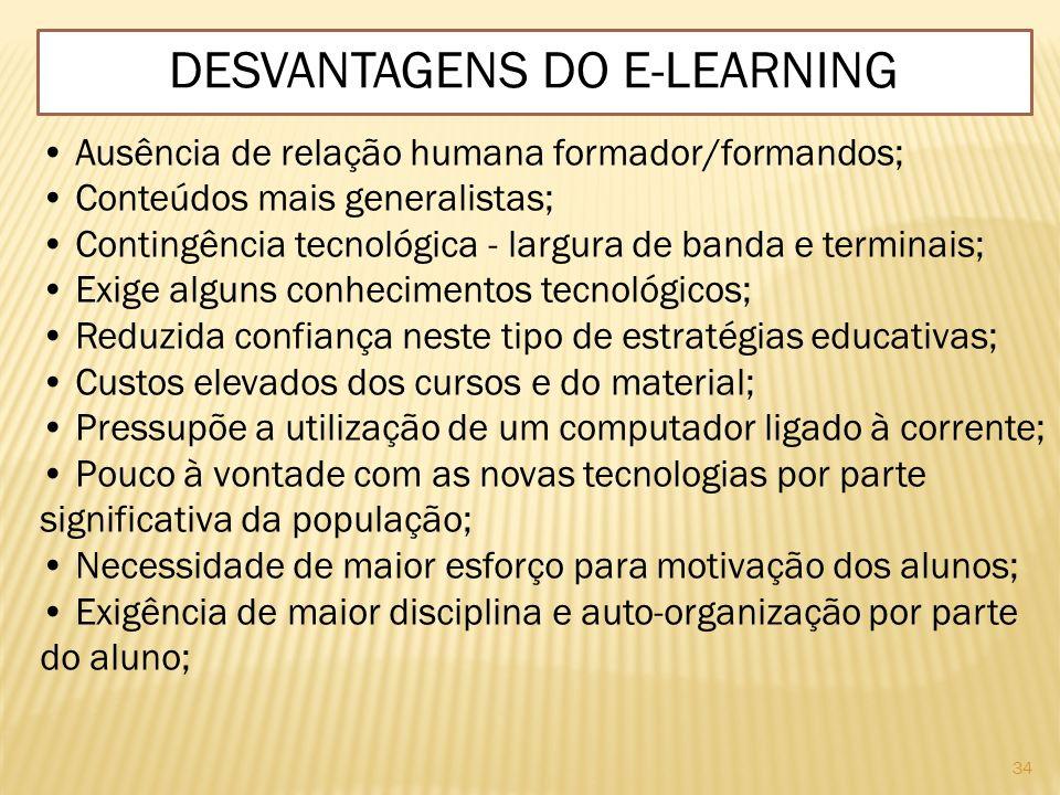 34 DESVANTAGENS DO E-LEARNING Ausência de relação humana formador/formandos; Conteúdos mais generalistas; Contingência tecnológica - largura de banda