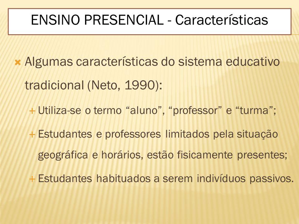 Algumas características do sistema educativo tradicional (Neto, 1990): Utiliza-se o termo aluno, professor e turma; Estudantes e professores limitados