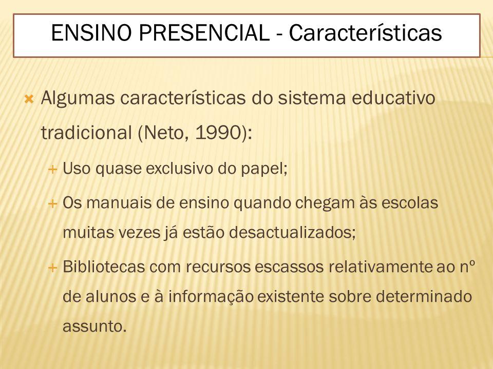 Algumas características do sistema educativo tradicional (Neto, 1990): Uso quase exclusivo do papel; Os manuais de ensino quando chegam às escolas mui