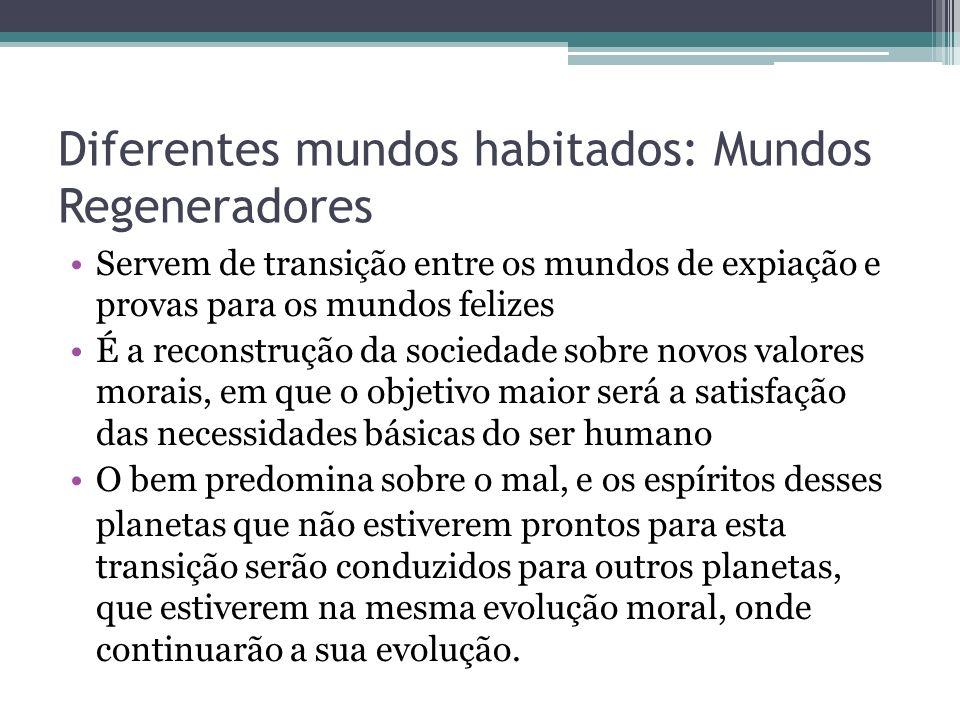 Diferentes mundos habitados: Mundos Regeneradores Servem de transição entre os mundos de expiação e provas para os mundos felizes É a reconstrução da