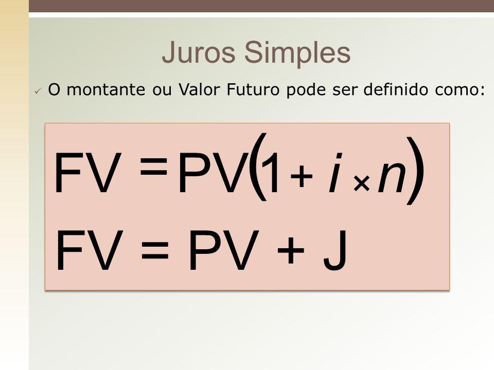 Juros Simples O montante ou Valor Futuro pode ser definido como: ( ) niPVFV × + = 1 FV = PV + J