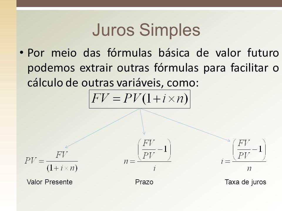 Juros Simples Por meio das fórmulas básica de valor futuro podemos extrair outras fórmulas para facilitar o cálculo de outras variáveis, como: Valor P