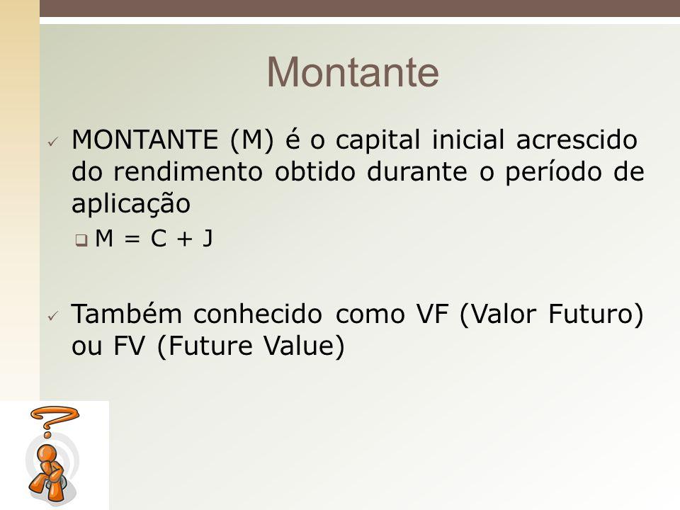 MONTANTE (M) é o capital inicial acrescido do rendimento obtido durante o período de aplicação M = C + J Também conhecido como VF (Valor Futuro) ou FV