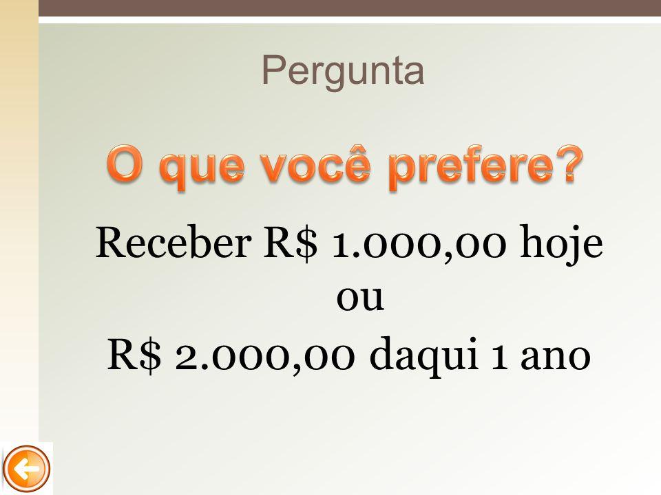Pergunta Receber R$ 1.000,00 hoje ou R$ 2.000,00 daqui 1 ano