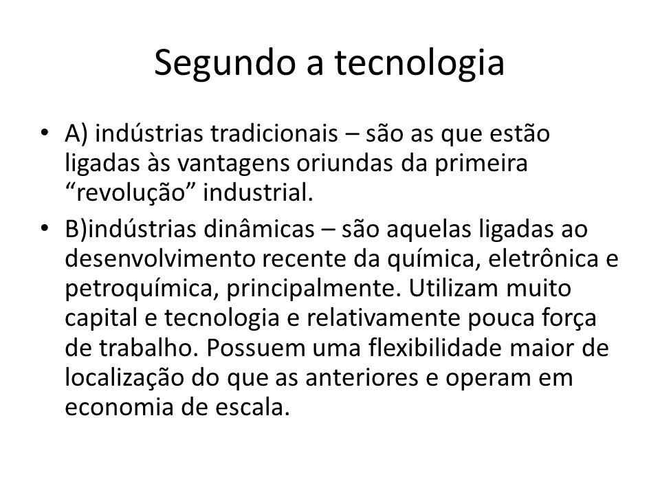 Segundo a aplicação dos recursos ou fatores A) indústrias capital – intensivas = as que aplicam os maiores recursos nos fatores capital e tecnologia.