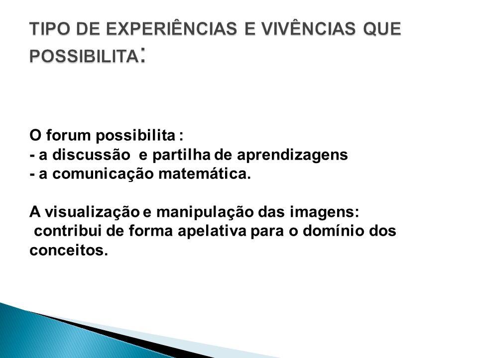 O forum possibilita : - a discussão e partilha de aprendizagens - a comunicação matemática. A visualização e manipulação das imagens: contribui de for