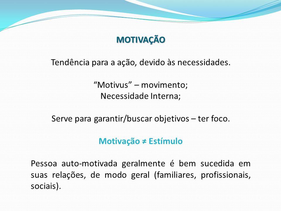MOTIVAÇÃO Tendência para a ação, devido às necessidades. Motivus – movimento; Necessidade Interna; Serve para garantir/buscar objetivos – ter foco. Mo