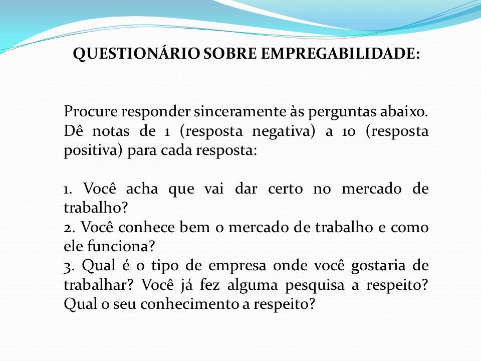 QUESTIONÁRIO SOBRE EMPREGABILIDADE: Procure responder sinceramente às perguntas abaixo. Dê notas de 1 (resposta negativa) a 10 (resposta positiva) par