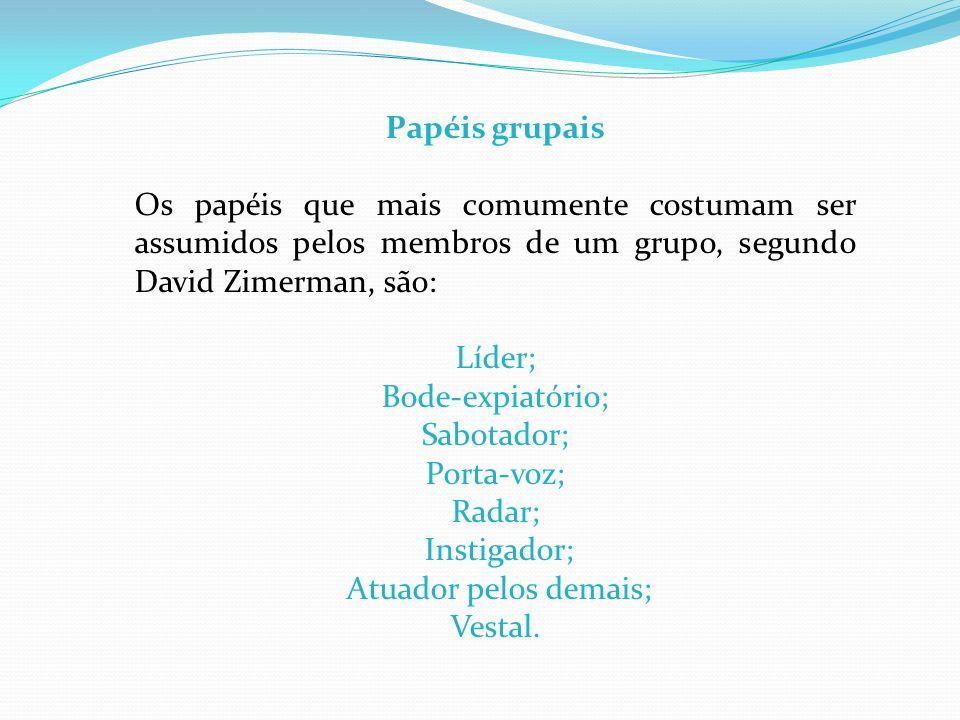 Papéis grupais Os papéis que mais comumente costumam ser assumidos pelos membros de um grupo, segundo David Zimerman, são: Líder; Bode-expiatório; Sab