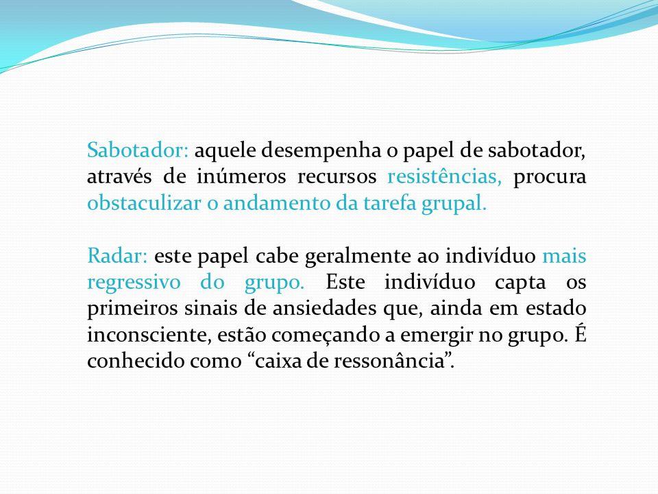 Sabotador: aquele desempenha o papel de sabotador, através de inúmeros recursos resistências, procura obstaculizar o andamento da tarefa grupal. Radar