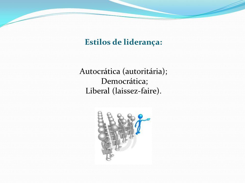 Estilos de liderança: Autocrática (autoritária); Democrática; Liberal (laissez-faire).