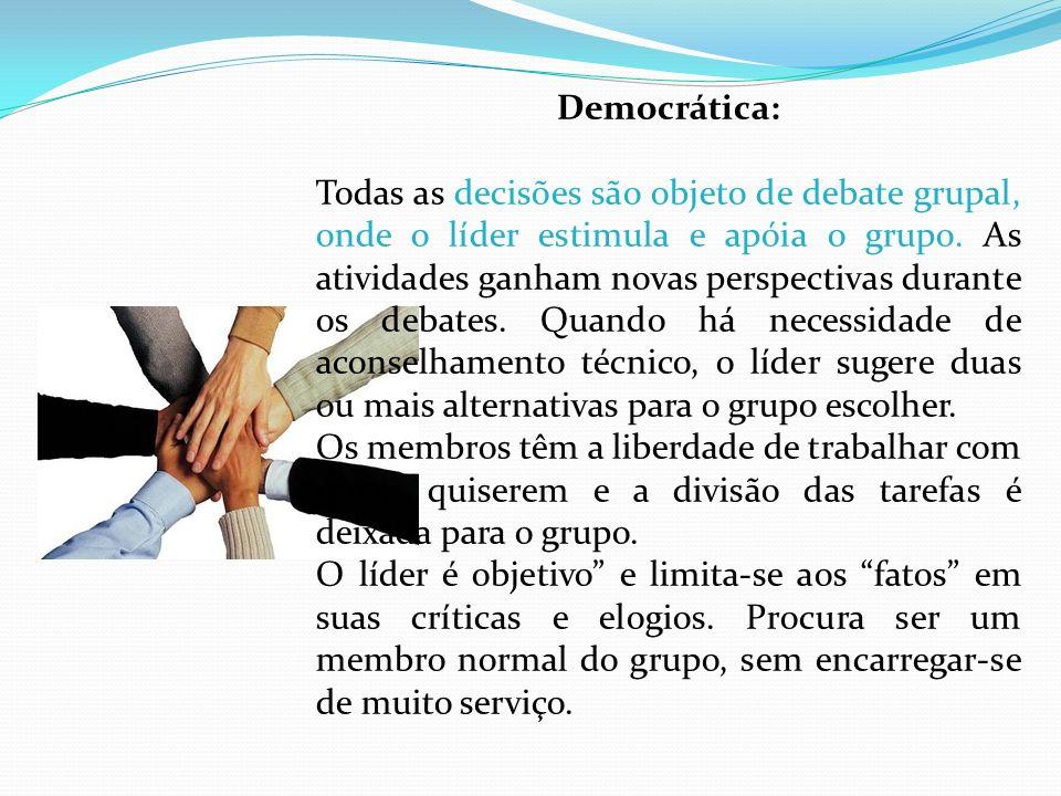 Democrática: Todas as decisões são objeto de debate grupal, onde o líder estimula e apóia o grupo. As atividades ganham novas perspectivas durante os