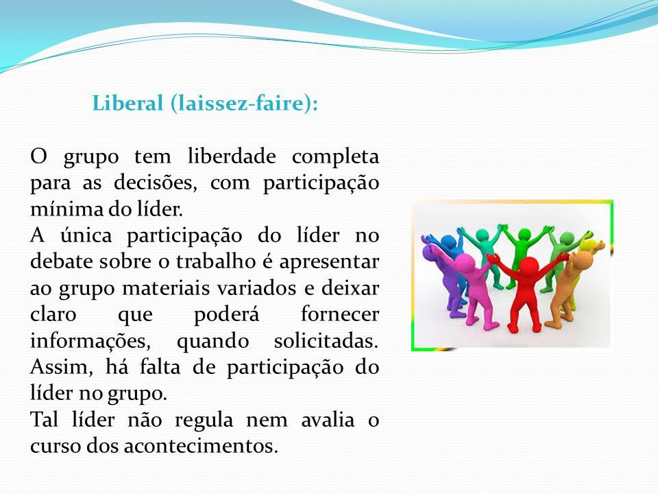 Liberal (laissez-faire): O grupo tem liberdade completa para as decisões, com participação mínima do líder. A única participação do líder no debate so