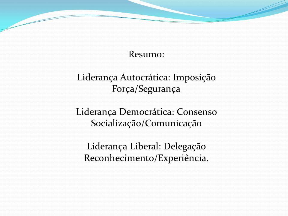 Resumo: Liderança Autocrática: Imposição Força/Segurança Liderança Democrática: Consenso Socialização/Comunicação Liderança Liberal: Delegação Reconhe