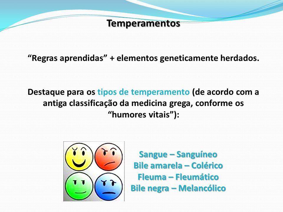 Temperamentos Regras aprendidas + elementos geneticamente herdados. Destaque para os tipos de temperamento (de acordo com a antiga classificação da me
