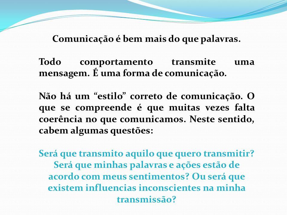 Comunicação é bem mais do que palavras. Todo comportamento transmite uma mensagem. É uma forma de comunicação. Não há um estilo correto de comunicação