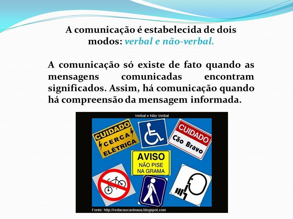 A comunicação é estabelecida de dois modos: verbal e não-verbal. A comunicação só existe de fato quando as mensagens comunicadas encontram significado