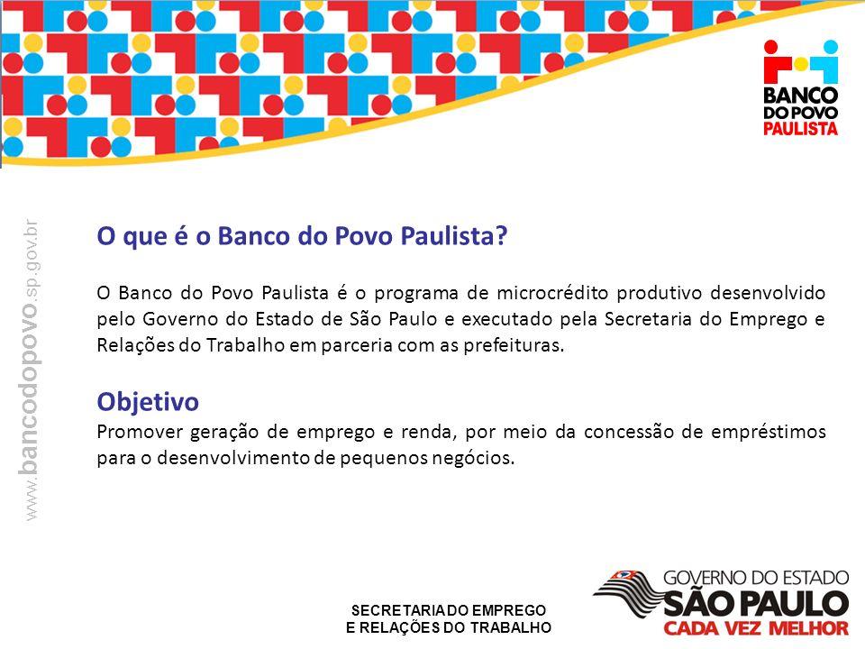 SECRETARIA DO EMPREGO E RELAÇÕES DO TRABALHO www. bancodopovo.sp.gov.br O que é o Banco do Povo Paulista? O Banco do Povo Paulista é o programa de mic