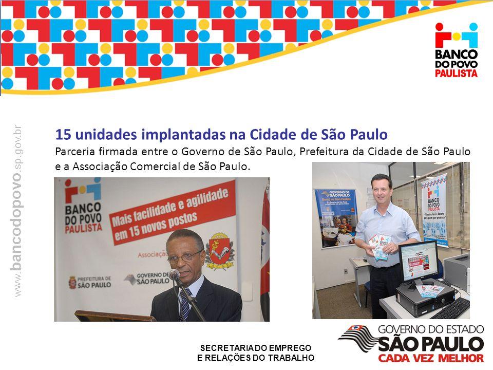 SECRETARIA DO EMPREGO E RELAÇÕES DO TRABALHO www. bancodopovo.sp.gov.br 15 unidades implantadas na Cidade de São Paulo Parceria firmada entre o Govern