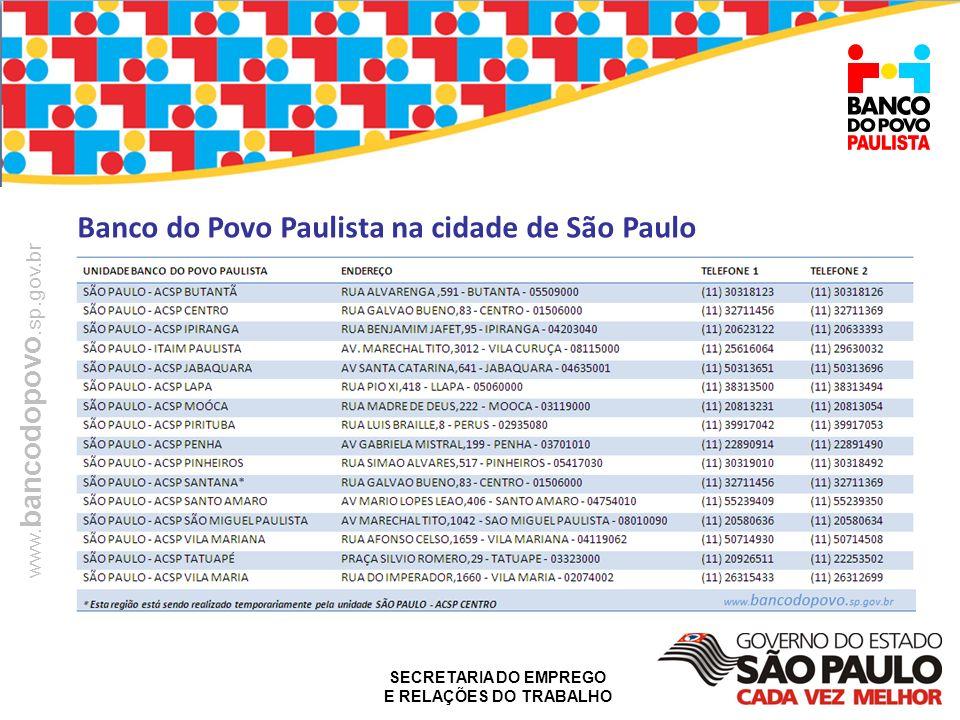 SECRETARIA DO EMPREGO E RELAÇÕES DO TRABALHO www. bancodopovo.sp.gov.br Banco do Povo Paulista na cidade de São Paulo