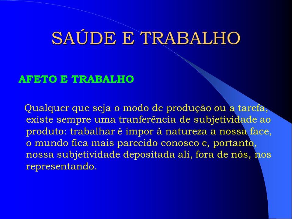 SAÚDE E TRABALHO TODO PROCESSO DE TRABALHO ENVOLVE :.