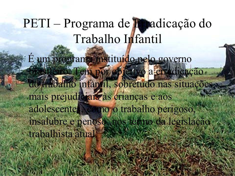 PETI – Programa de Erradicação do Trabalho Infantil É um programa instituído pelo governo brasileiro. Tem por objetivo a erradicação do trabalho infan