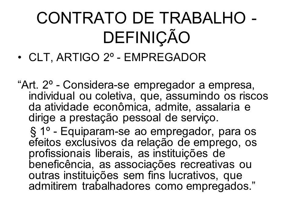 CONTRATO DE TRABALHO - DEFINIÇÃO CLT, ARTIGO 2º - EMPREGADOR Art. 2º - Considera-se empregador a empresa, individual ou coletiva, que, assumindo os ri
