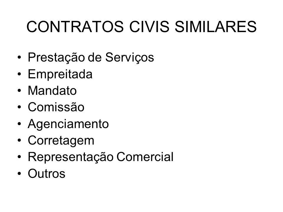 CONTRATOS CIVIS SIMILARES Prestação de Serviços Empreitada Mandato Comissão Agenciamento Corretagem Representação Comercial Outros