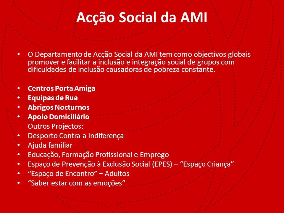 Acção Social da AMI O Departamento de Acção Social da AMI tem como objectivos globais promover e facilitar a inclusão e integração social de grupos co