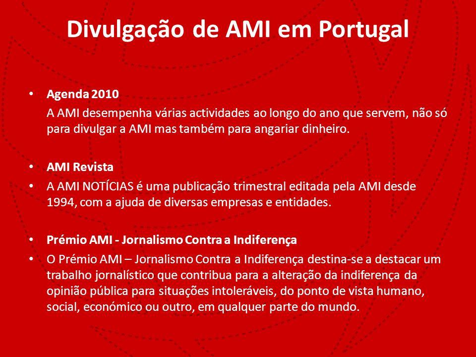 Divulgação de AMI em Portugal Agenda 2010 A AMI desempenha várias actividades ao longo do ano que servem, não só para divulgar a AMI mas também para a
