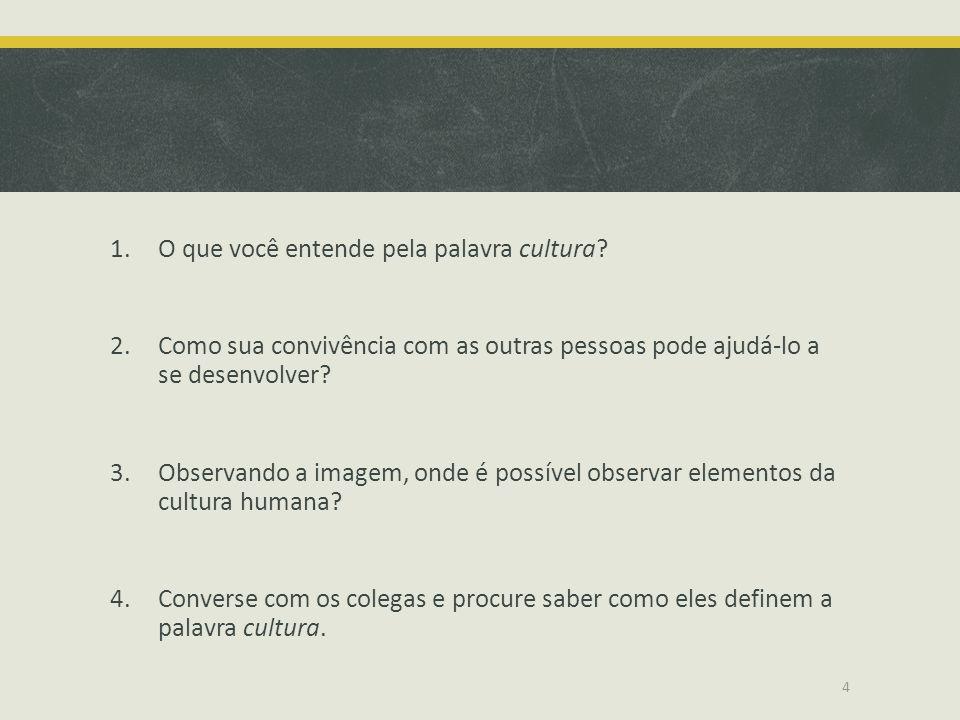 1.O que você entende pela palavra cultura? 2.Como sua convivência com as outras pessoas pode ajudá-lo a se desenvolver? 3.Observando a imagem, onde é