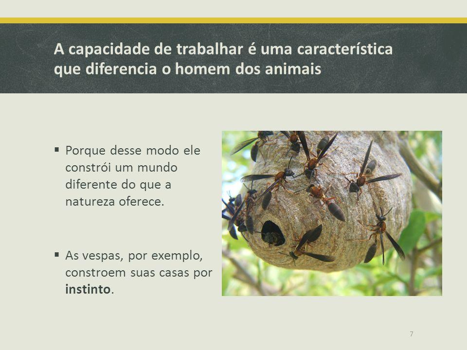 A capacidade de trabalhar é uma característica que diferencia o homem dos animais Porque desse modo ele constrói um mundo diferente do que a natureza