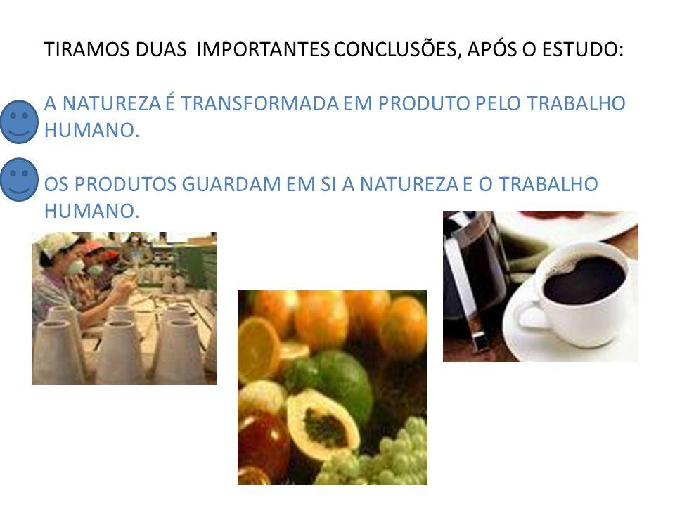 TIRAMOS DUAS IMPORTANTES CONCLUSÕES, APÓS O ESTUDO: A NATUREZA É TRANSFORMADA EM PRODUTO PELO TRABALHO HUMANO.