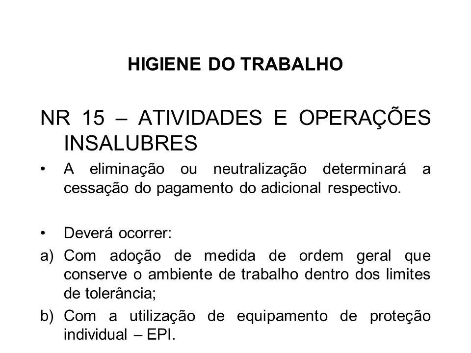 HIGIENE DO TRABALHO NR 15 – ATIVIDADES E OPERAÇÕES INSALUBRES A eliminação ou neutralização determinará a cessação do pagamento do adicional respectivo.