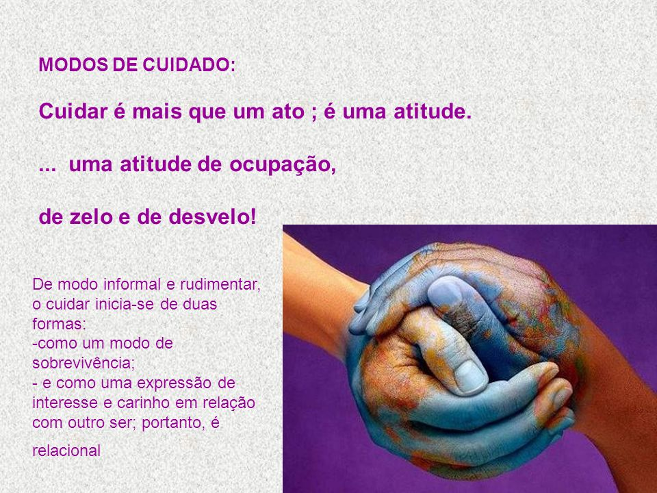 MODOS DE CUIDADO: Cuidar é mais que um ato ; é uma atitude.... uma atitude de ocupação, de zelo e de desvelo! De modo informal e rudimentar, o cuidar