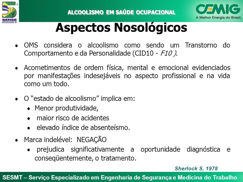 SESMT – Serviço Especializado em Engenharia de Segurança e Medicina do Trabalho ALCOOLISMO EM SAÚDE OCUPACIONAL ALCOOLISMO EM SAÚDE OCUPACIONAL Aspect
