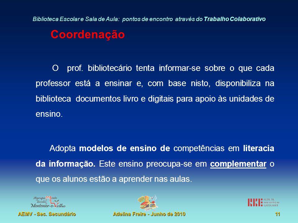 Biblioteca Escolar e Sala de Aula: pontos de encontro através do Trabalho Colaborativo AEMV - Sec. SecundárioAdelina Freire - Junho de 201011 Coordena
