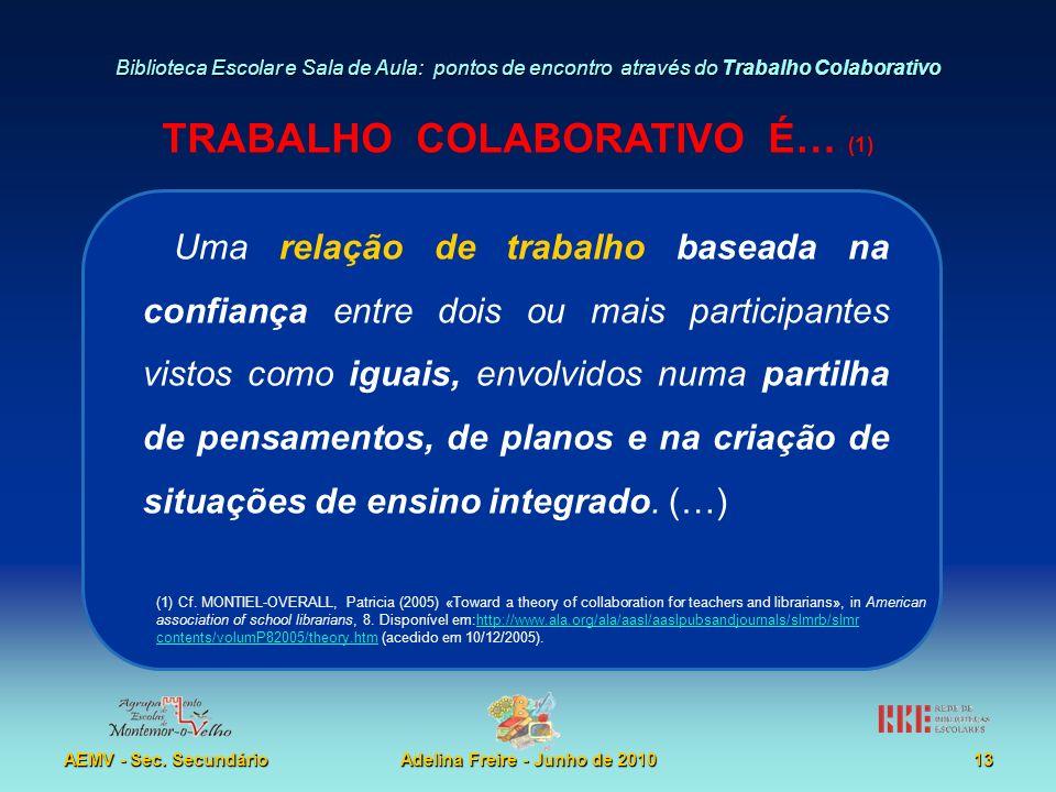 Biblioteca Escolar e Sala de Aula: pontos de encontro através do Trabalho Colaborativo AEMV - Sec. SecundárioAdelina Freire - Junho de 201013 Uma rela