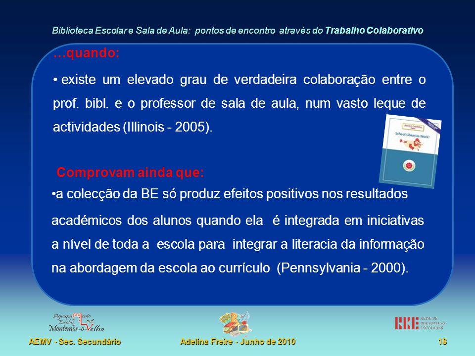 Biblioteca Escolar e Sala de Aula: pontos de encontro através do Trabalho Colaborativo AEMV - Sec. SecundárioAdelina Freire - Junho de 201018 …quando: