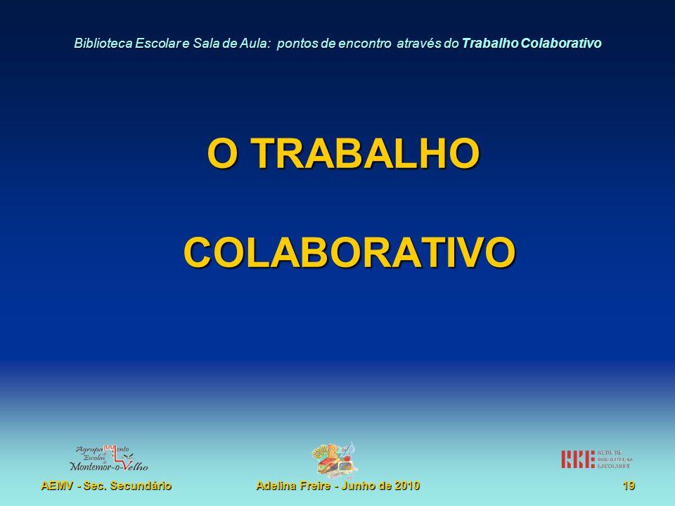Biblioteca Escolar e Sala de Aula: pontos de encontro através do Trabalho Colaborativo AEMV - Sec. SecundárioAdelina Freire - Junho de 201019 O TRABAL