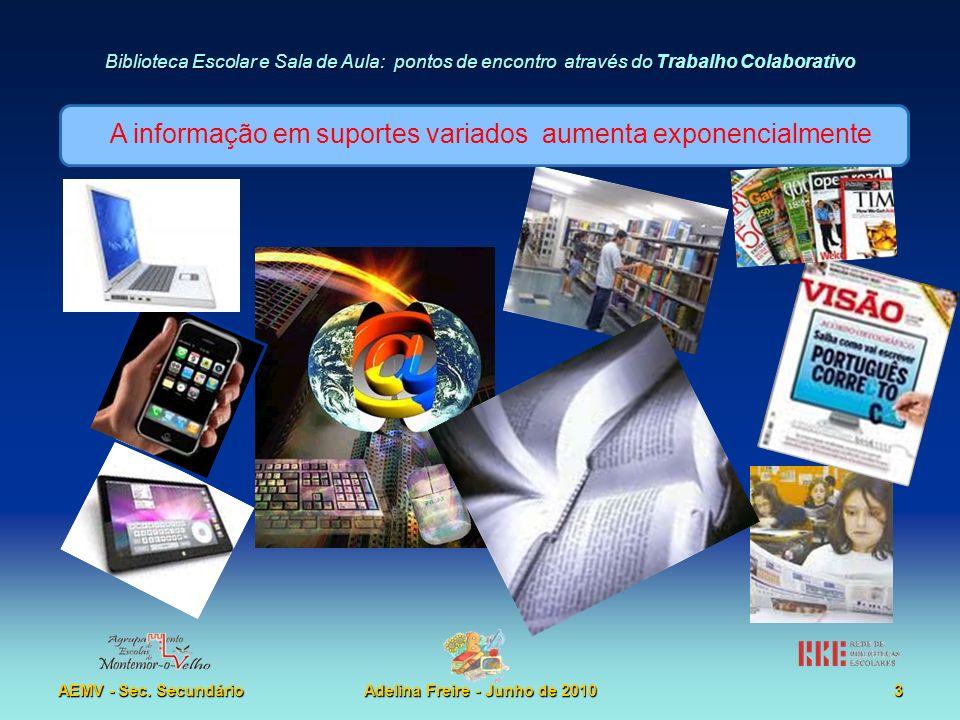 Biblioteca Escolar e Sala de Aula: pontos de encontro através do Trabalho Colaborativo AEMV - Sec. SecundárioAdelina Freire - Junho de 20103 A informa