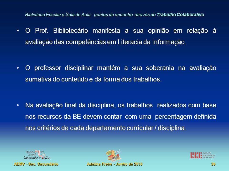 Biblioteca Escolar e Sala de Aula: pontos de encontro através do Trabalho Colaborativo AEMV - Sec. SecundárioAdelina Freire - Junho de 201036 O Prof.