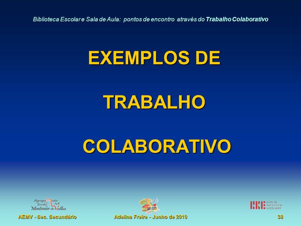 Biblioteca Escolar e Sala de Aula: pontos de encontro através do Trabalho Colaborativo AEMV - Sec. SecundárioAdelina Freire - Junho de 201038 EXEMPLOS